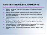 rural financial inclusion rural barriers