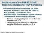 implications of the uspstf draft recommendations for hcv screening