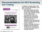 recommendations for hcv screening and testing