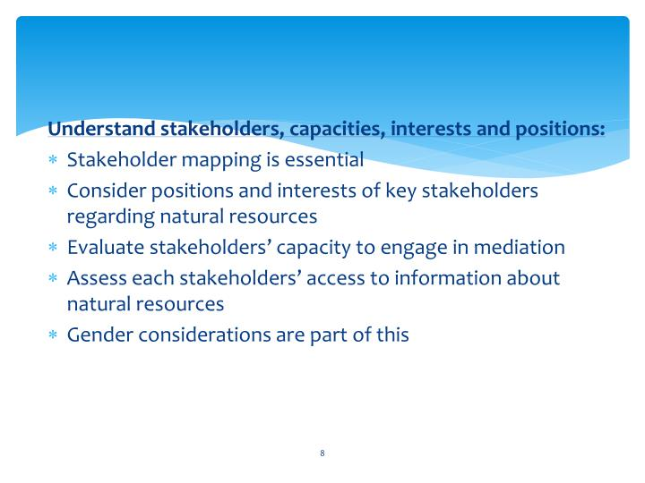 Understand stakeholders, capacities, interests and positions: