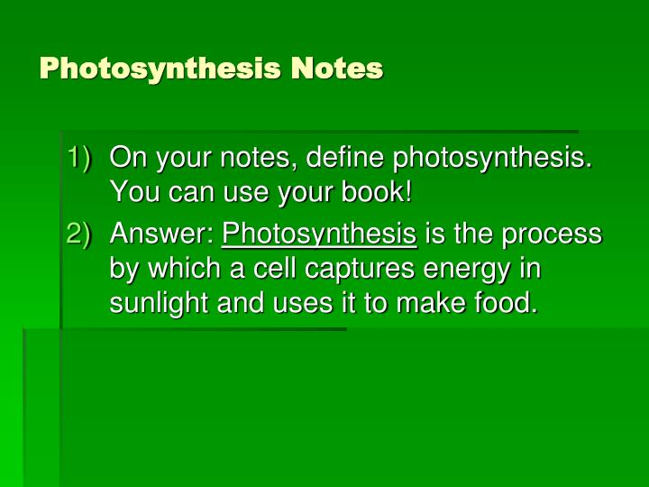 photosynthesis notes n.
