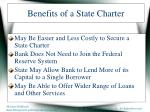benefits of a state charter
