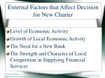 external factors that affect decision for new charter