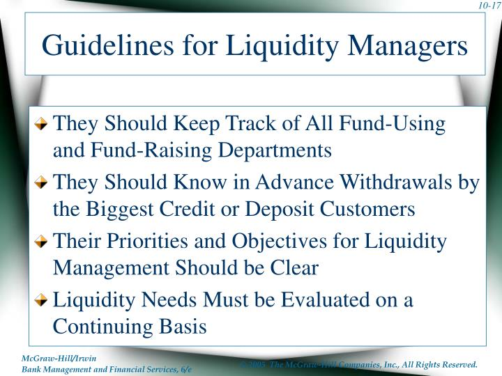 Guidelines for Liquidity Managers