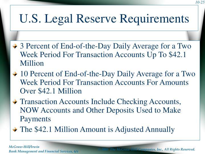 U.S. Legal Reserve Requirements