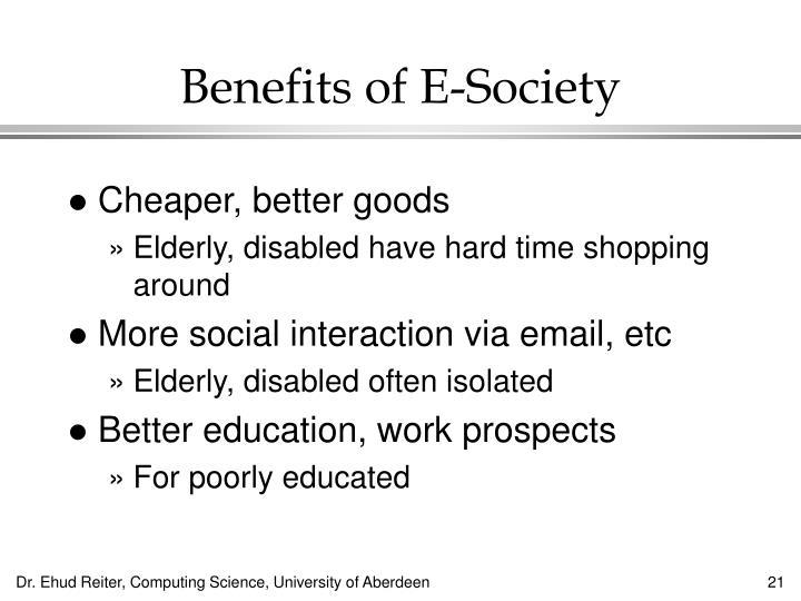 Benefits of E-Society