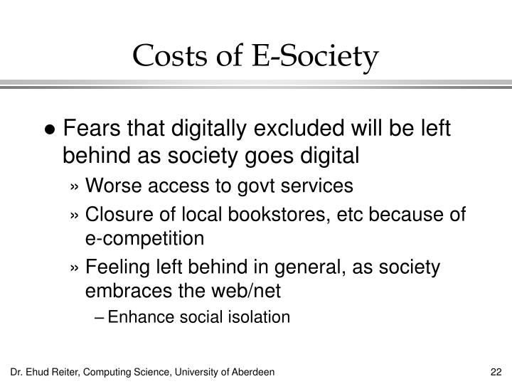 Costs of E-Society