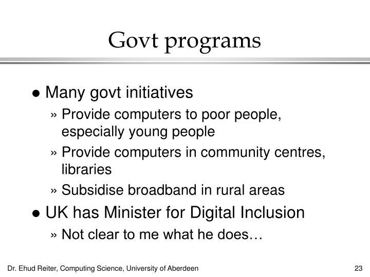 Govt programs