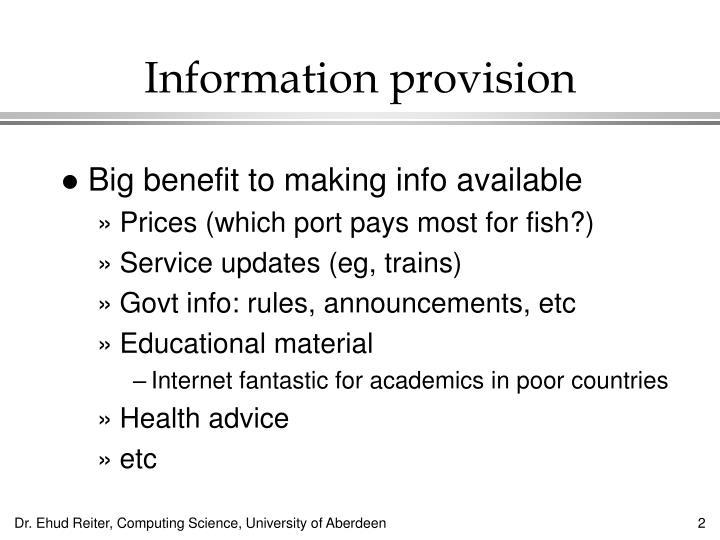 Information provision
