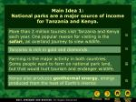 main idea 1 national parks are a major source of income for tanzania and kenya
