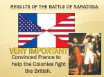 results of the battle of saratoga
