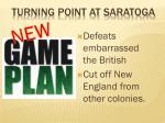 turning point at saratoga