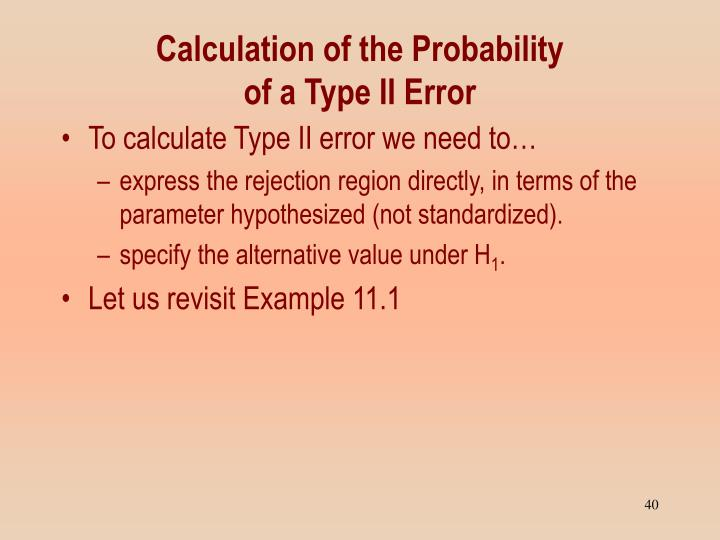 Calculation of the Probability