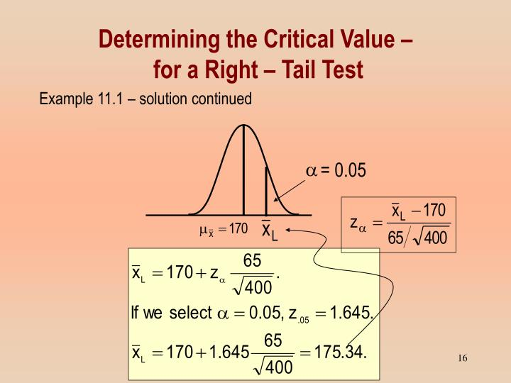 Determining the Critical Value –