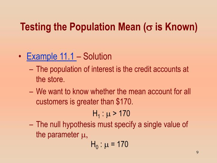 Testing the Population Mean (
