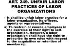 art 249 unfair labor practices of labor organizations
