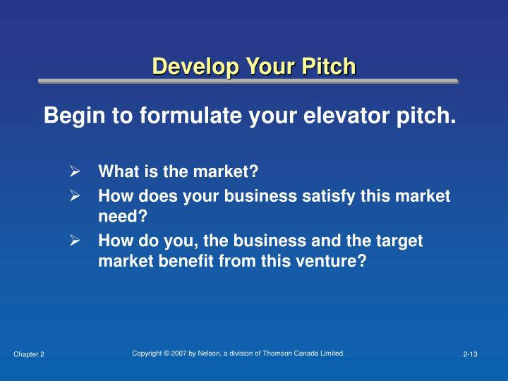 Develop Your Pitch