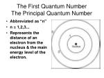 the first quantum number the principal quantum number