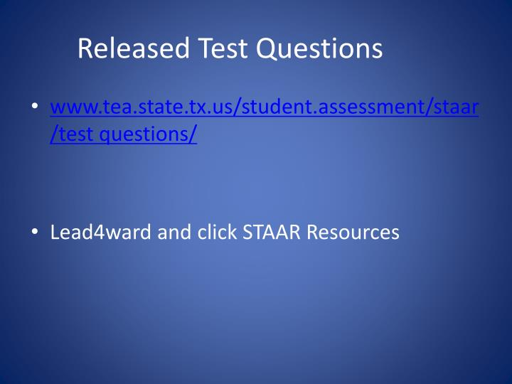 Released Test Questions