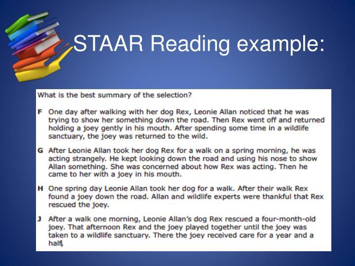 STAAR Reading example: