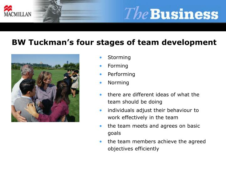 bw tuckman s four stages of team development n.