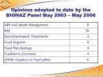 opinions adopted to date by the biohaz panel may 2003 may 2006