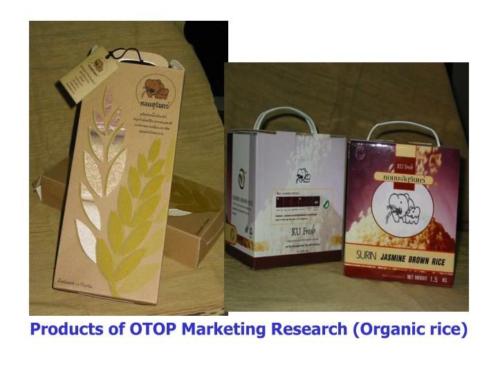 Products of OTOP Marketing Research (Organic rice)