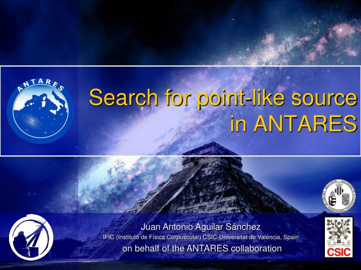 search for point like source in antares n.