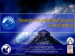 search for point like source in antares