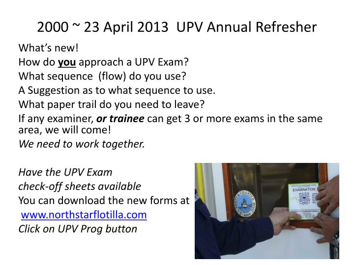2000 23 april 2013 upv annual refresher n.