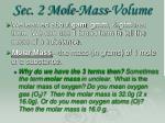 sec 2 mole mass volume