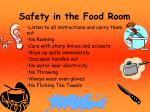 safety in the food room