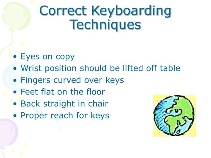 correct keyboarding techniques n.