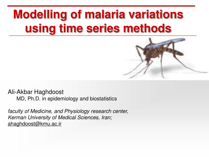 modelling of malaria variations using time series methods n.