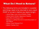 what do i need to return