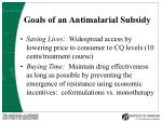 goals of an antimalarial subsidy