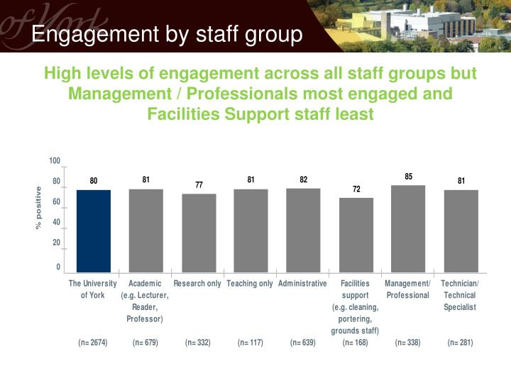 Engagement by staff group