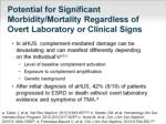 potential for significant morbidity mortality regardless of overt laboratory or clinical signs