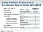 safety profile of eculizumab in prospective trial of adults with ahus