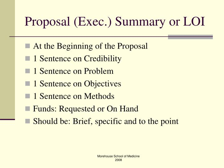 Proposal (Exec.) Summary or LOI