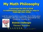 my math philosophy