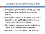 course and faculty evaluations
