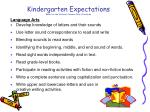 kindergarten expectations based on the national common core standards
