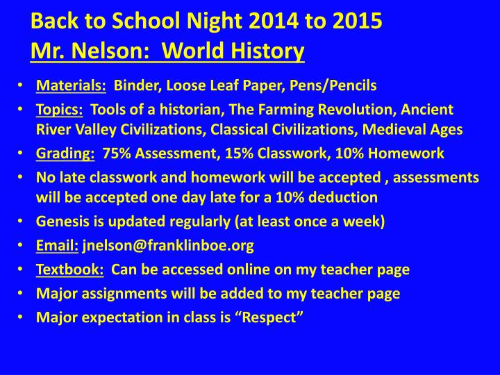 back to school night 2014 to 2015 mr nelson world history n.