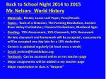 back to school night 2014 to 2015 mr nelson world history