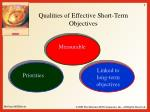qualities of effective short term objectives