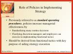 role of policies in implementing strategy