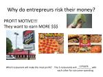 why do entrepreurs risk their money