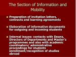 the section of information and mobility