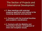 the section of projects and international development
